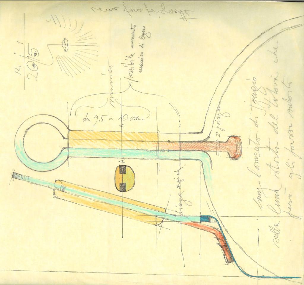 Disegno originale TS padella manico lungo