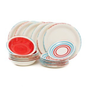 Kasanova cucina servizio piatti blu e rosso